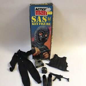 Vintage 1980's Palitoy Action Man Key Figure Box SAS Soldier Uniform Rifle