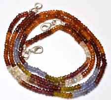"""1 STAND Natural Multi color Garnet Faceted Rondelle Beads NECKLACE 3 - 3.5MM 16"""""""