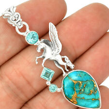 Pegasus Flying Horse - Copper Blue Turquoise 925 Silver Pendant Jewelry PP2320