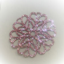 ROSACE 4 CM  COULEUR ROSE  Patch THERMOCOLLANT HOTFIX Glitter PINK (N°38)