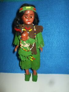 Vintage Native American Indian Lady Doll with Baby Hard Plastic  (#H2)