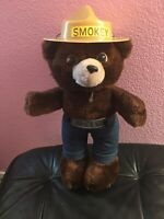 Vintage Smokey The Bear Plush Doll With Jeans And Hat 1980 Dakin 13 Inches Tall