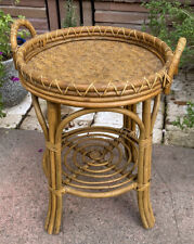 Vintage Rattan Bent Wood Bamboo Round Side Table w/ Removable Tray Top