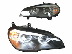 LED Halo DRL Projector HID Headlight For 2007 2008 2009 2010 BMW E70 X5