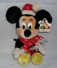 "12"" VINTAGE DISNEY MICKEY MOUSE RED HAT SCARF STUFFED ANIMAL PLUSH TOY DOLL TAG"
