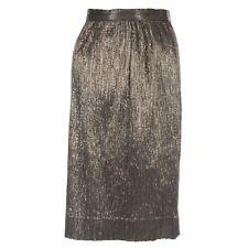 Krizia Gunmetal Lame Pencil Skirt Vintage Italy 40