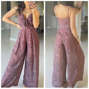 WHO AM I Leopard Print Tie Front Jumpsuit Size 8