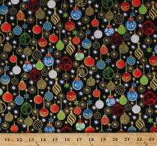Christmas Ornaments Holiday Decorations Glitter Cotton Fabric Print BTY D381.11