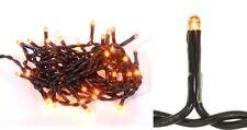 50 ORANGE Halloween TEENY RICE String Lights 11 Ft Black Cord Indoor Use Only