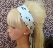WHITE MUSIC NOTE COTTON FABRIC HEAD SCARF HAIR BAND SELF TIE BOW 50s 60s STYLE