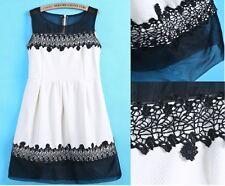 Vestido Bordado organza Blanco y Negro