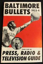 1953 -54 Baltimore Bullets Basketball Press Media Guide Gunther Beer