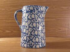 New listing Antique Blue White Spongeware Pitcher Tankard 19th Century Stoneware