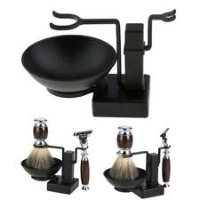 Barber Alloy Shaving Brush Safety Razor Holder Rack Stand + Soap Bowl Set