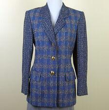 ESCADA Margaretha Ley blue tweed cashmere blend jacket gold logo buttons Sz. 36