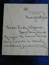 Princess Victoria Eugenie, Queen of Spain - excellent signed wedding letter