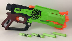 Nerf Zombie Strike Collection Crossfire Dart Gun Blaster 2013 Hasbro with Darts