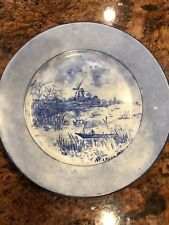"""Vintage Limoges Hand Painted Blue and White Plate 9"""" Windmill Boat Signed"""