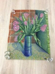 PASTEL STILL LIFE FIRST LILAC TULIPS OF SPRING 1962 Signed CA 25X19 B93