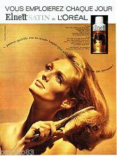 PUBLICITE ADVERTISING 1016  1963  la laque Elnett Satin de L'Oréal