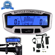Large Display LCD Backlight Bike Computer Odometer Bicycle Cycling Speedometer