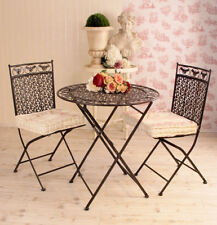 Iron patio furniture set country style garden set table and two chairs metal new