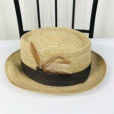 1bead5f4 Capas Headwear Size Medium 7 7 1/8 56 57 Panama Hat Feather Casual