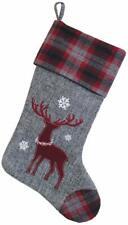 Boston International Christmas Flannel Deer Stocking, Plaid Cuff