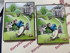 2 x Decoupage Pictures of Golf Theme Toppers