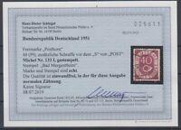 Bund - Posthorn Nr. 133 I gestempelt - Befund Schlegel einwandfrei - RRR!!!