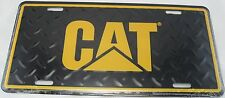 CAT DIAMOND PLATE BLACK METAL LICENSE TRUCK CATERPILLAR TRACTOR AUTO SIGN L0963