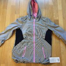 Lululemon Downtime Jacket, Vintage Pink Black White Stripe, Size 8, NWT