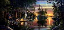"Catching Memories Camping Lake Scene Art Print By Kim Norlien  24"" x 12"""