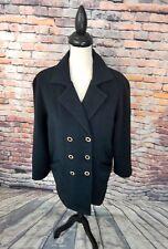 St. John Sport By Marie Gray Women's Black Double Breast Fleece Jacket Coat Sz S