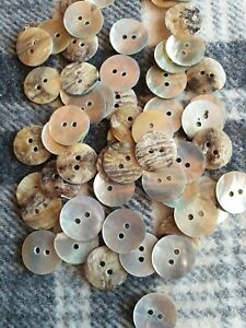 20 natural mother of pearl oyster shell sewing craft buttons 15mm 2 hole