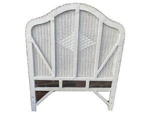 Vintage White Wicker Twin Size Headboard Diamond Center Pattern