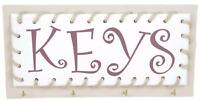"""Key Hooks Rack Holder """"Keys"""" Shabby Chic Wooden Cream Plaque Home Hall Decor"""