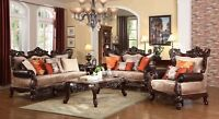 Autumn Beige Victorian 6-pc Sofa Set Dark Carved Wood Frame & Stone Top Tables