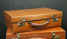 Tan Drew & Sons 1920s Leather Attache Case Suitcase Immaculate