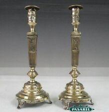 Pair Of Polish Brass Candlesticks Szekman Warsaw Ca1890