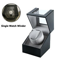 Automatic Rotating Single Watch Winder in Black Leather Display Box Storage Case