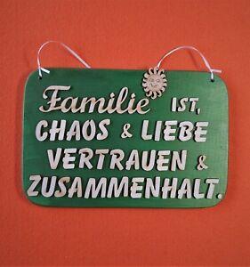 Geschenk, Familie ist, Chaos & Liebe Vertrauen & Zusammenhalt Türschild aus Holz