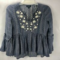 RD & Koko Anthropologie Women's Embroidered Boho Peasant Flared Top Gray Small