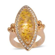 Natural Flower Preserved With Austrian Crystal Ring ION Plated Gold Size Q or M