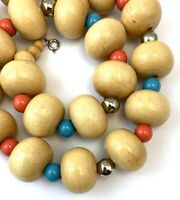 VINTAGE CHUNKY WOODEN BEAD NECKLACE BEADED BOHO FASHION JEWELRY