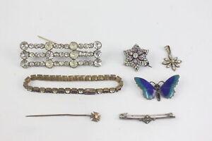 8 x Vintage Art Deco JEWELLERY inc. Paste, Brooches, Enamel Butterfly, Bracelet