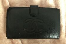Authentic CHANEL Vintage CC Logos Long Wallet Purse Caviar Skin Black #66