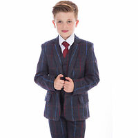 Boys Suits Wedding Suit 5pc Tweed Waistcoat Suit Page Boy Formal Party Navy