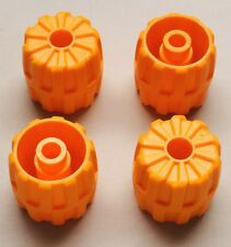 x4 NEW Lego Space Wheels Orange Wheel Hard Plastic Small (22mm D. x 24mm)