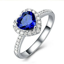 Heart Blue Sapphire Wedding Promise Band Ring 10KT White Gold Filled Size 6,7,8